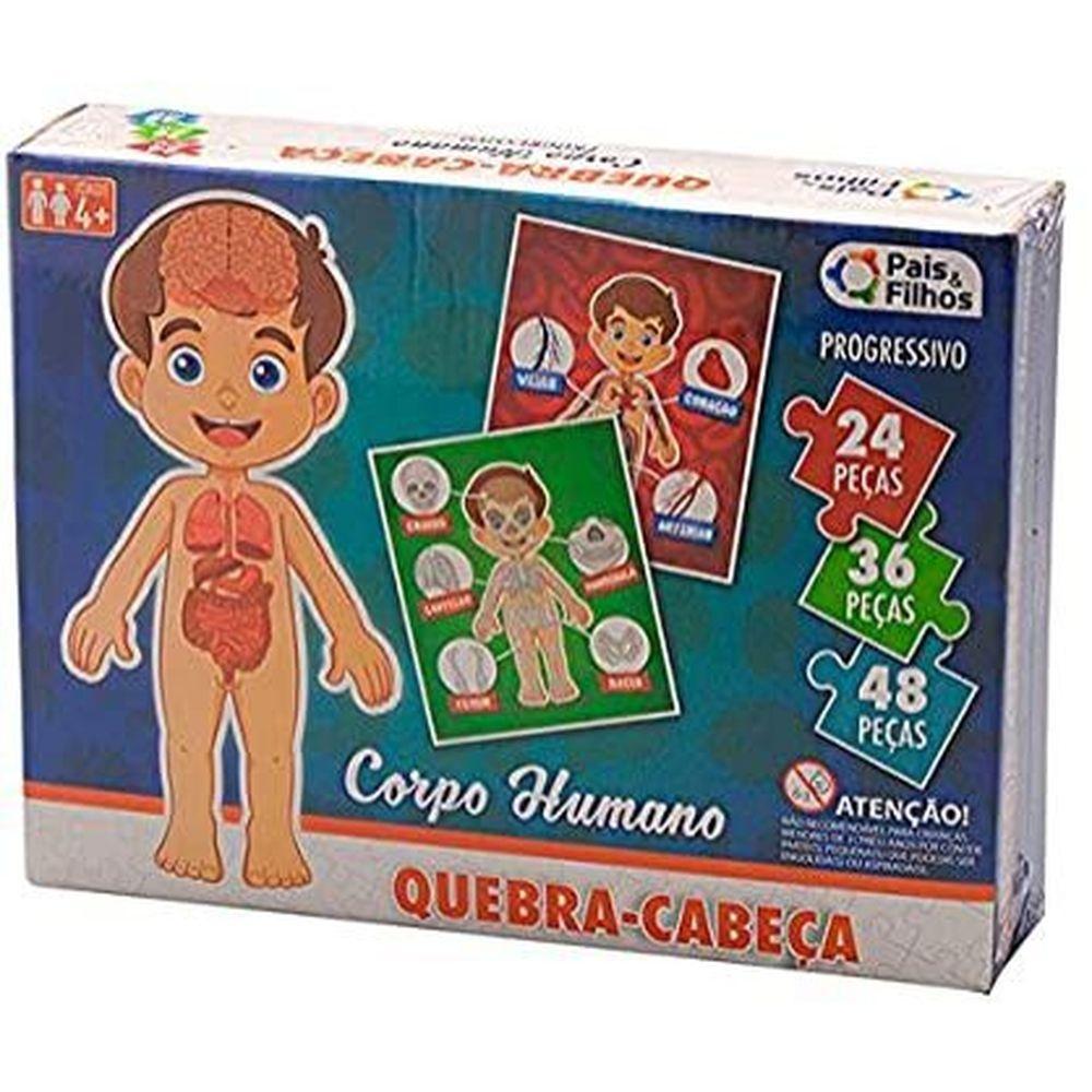 QUEBRA CABEÇA PROGRESSIVO CORPO HUMANO 24/36/48 PEÇAS