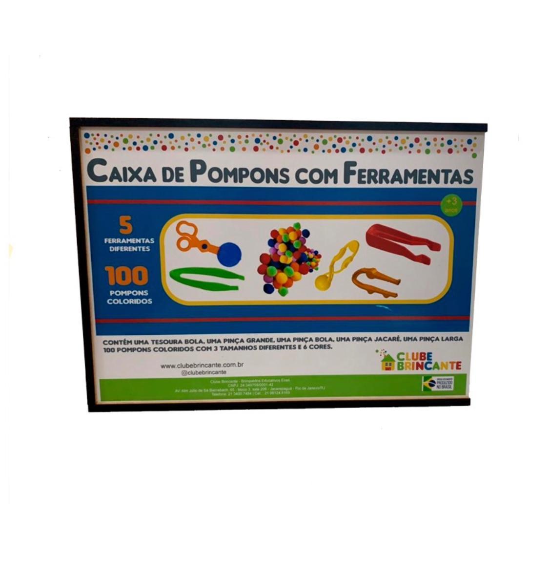 CAIXA DE POMPONS COM FERRAMENTAS
